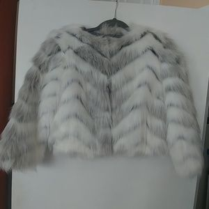 BCBGMAXZARIA Crop Fur Jacket.
